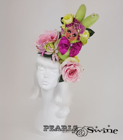 Quirky Bunny & Flower Hat, surreal hats for sale UK