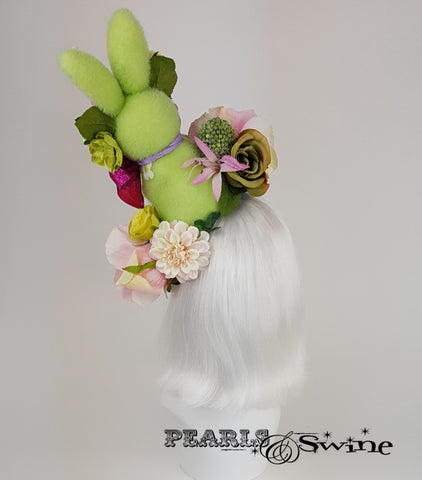 back of Quirky Bunny & Flower Hat
