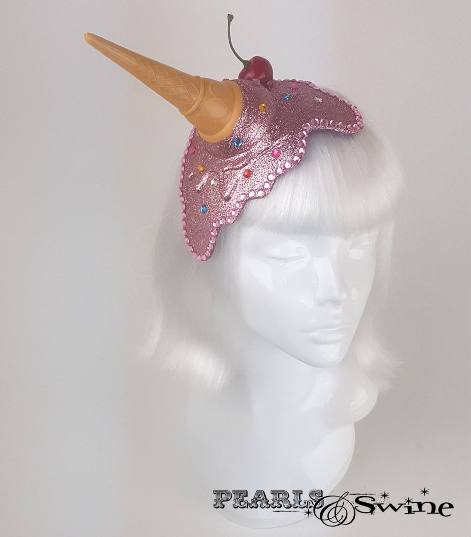 surreal dropped pink glitter ice cream fascinator