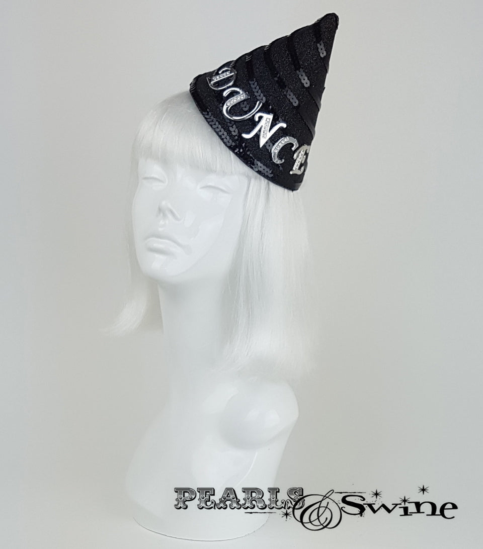 black glitter dunce hat UK