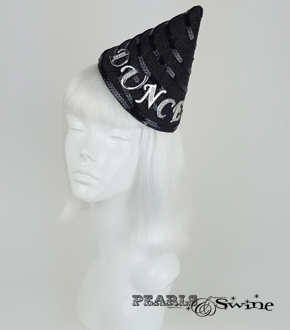 black glitter dunce headpiece