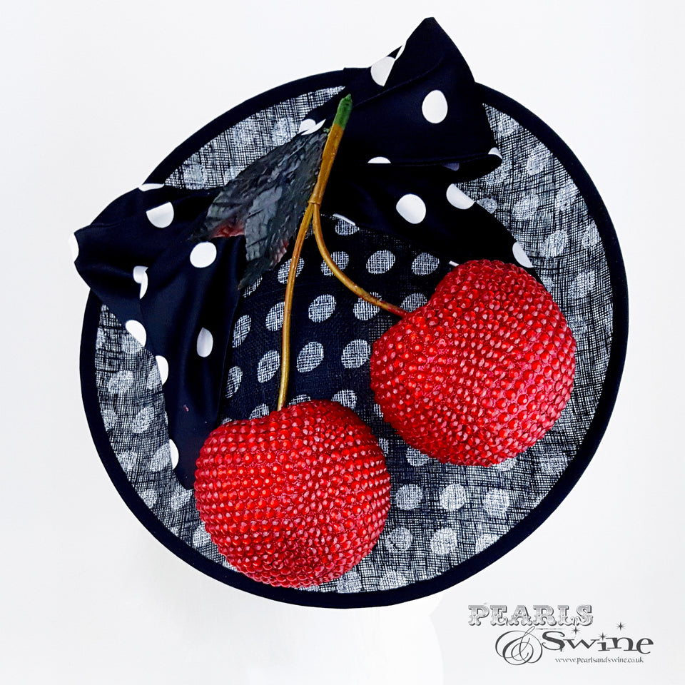 Red giant cherry hat with black & white polka dots