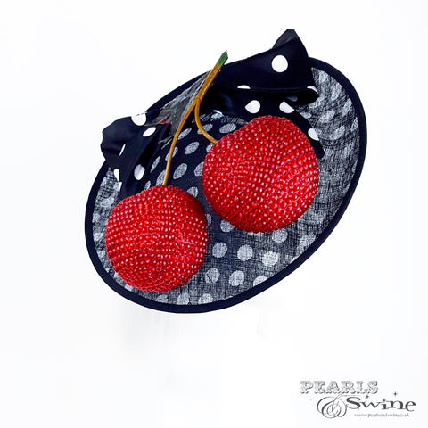 black & white polka dots with giant cherries hat