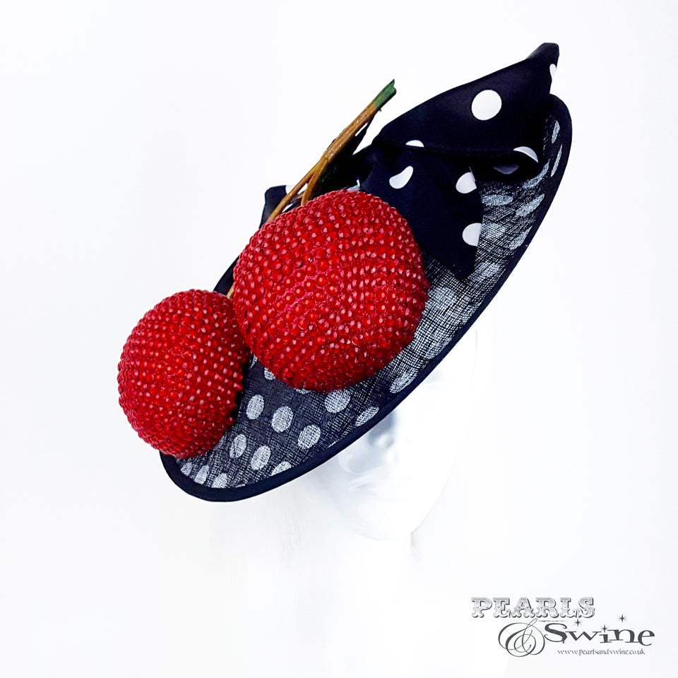 black & white polka dot royal ascot hat