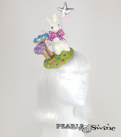 Fairy Bunny Glitter Fascinator millinery uk
