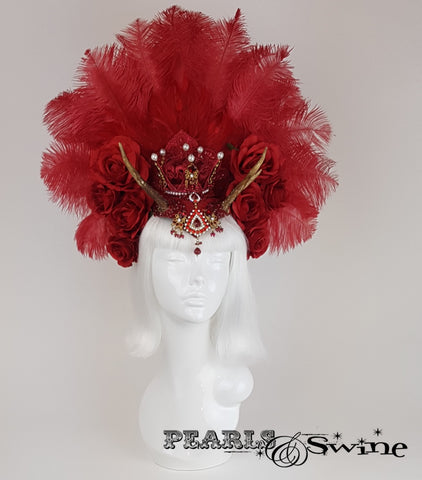 Red Feather Antler Crown Headdress, gothic headpiece
