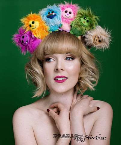 Fluffy Colourful Monster Headdress UK millinery