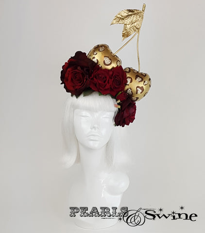 Giant Leopard Print Cherry Headpiece, British millinery