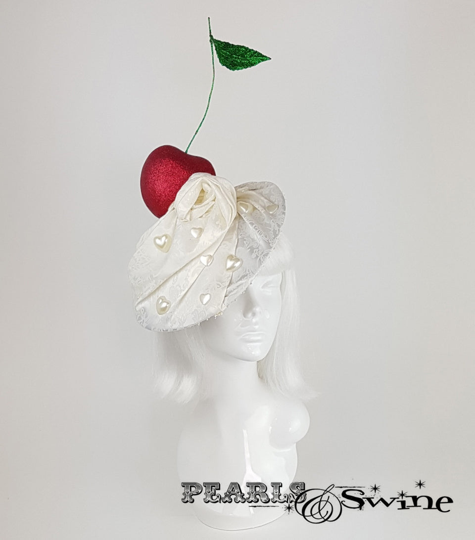 Giant Cherry & Cream Hat, surreal headpieces for sale UK