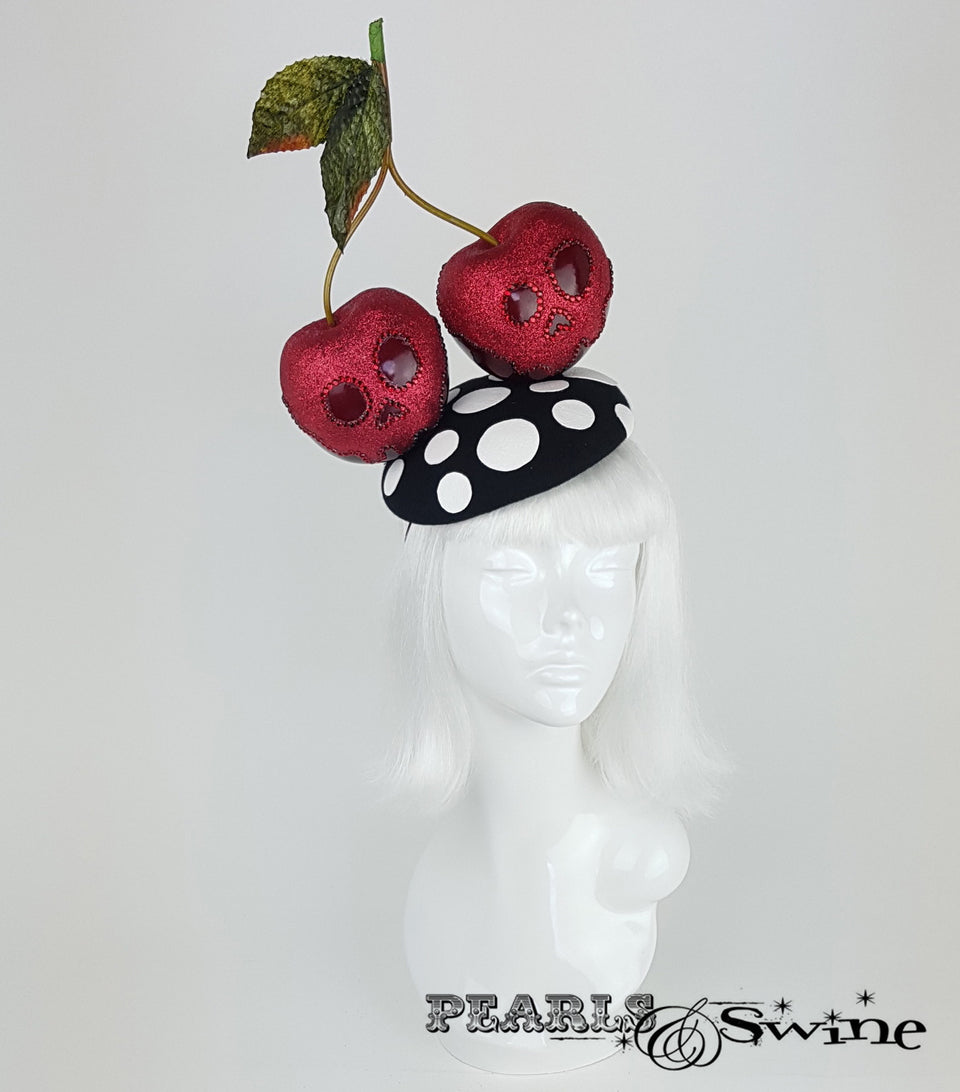 Giant Cherry Glitter Skull Hat. British millinery