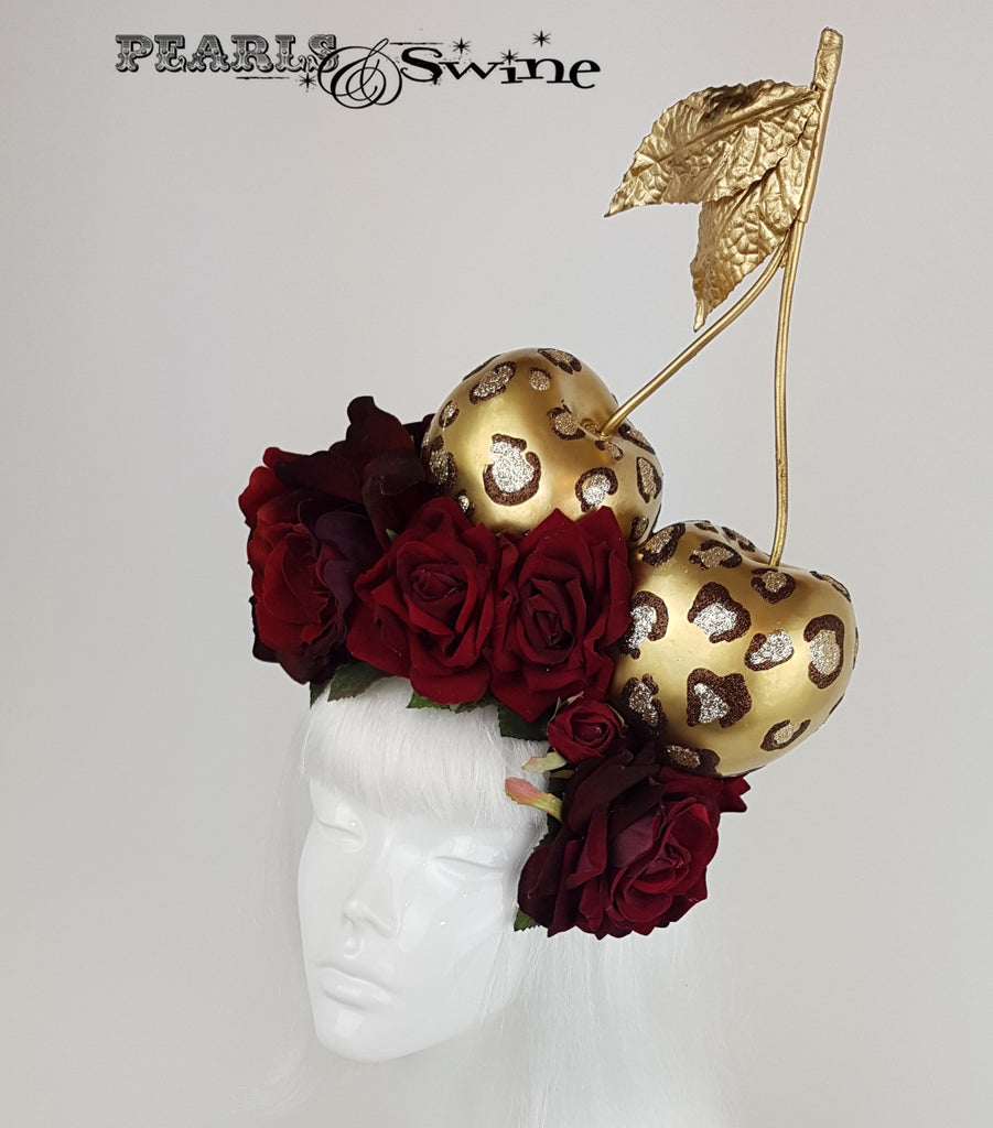 Giant Leopard Print Cherry Headpiece, Hats for Sale UK