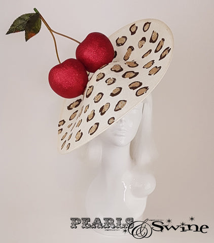 Giant red glittered cherries leopard print hat