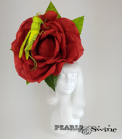 Giant Red Rose & Grasshopper Headpiece, Ladies day hat