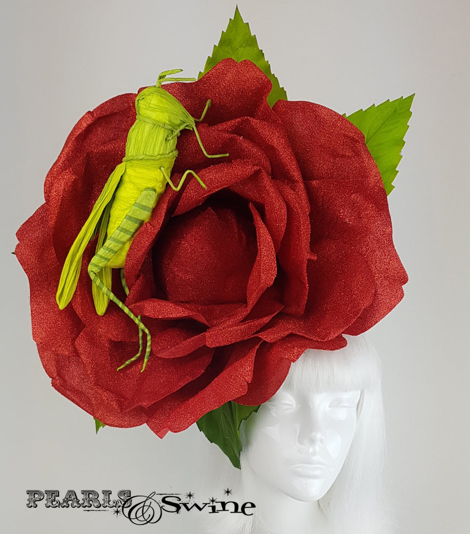 Giant Red Rose & Grasshopper Headpiece, Royal ascot hat