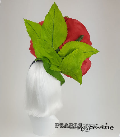 Giant Red Rose & Grasshopper Headpiece, quirky hats UK