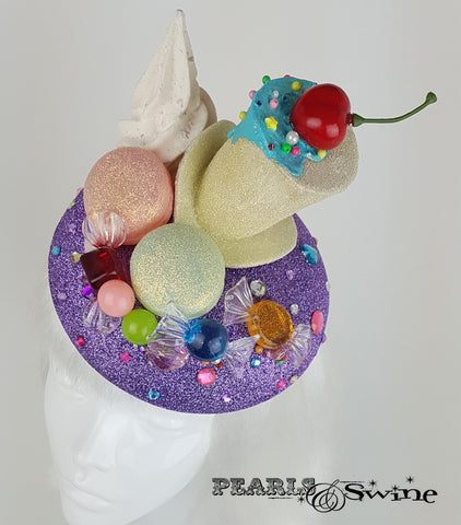 Glitter Cake Candy Hat, Royal Ascot wedding headwear