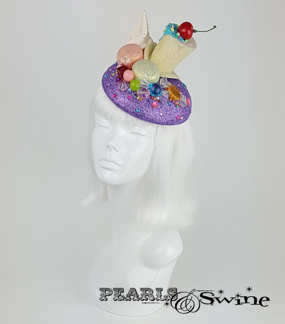 Glitter Cake Candy Hat, Royal Ascot wedding fascinator