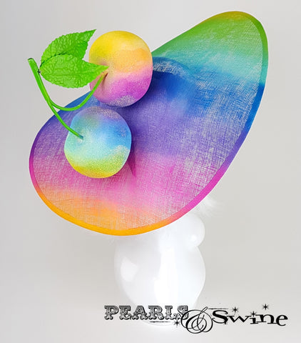 "Giant Cherry Rainbow Ascot Hat  ""Fierté"""