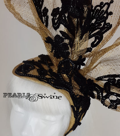 gold with black lace bunny rabbit ear hat