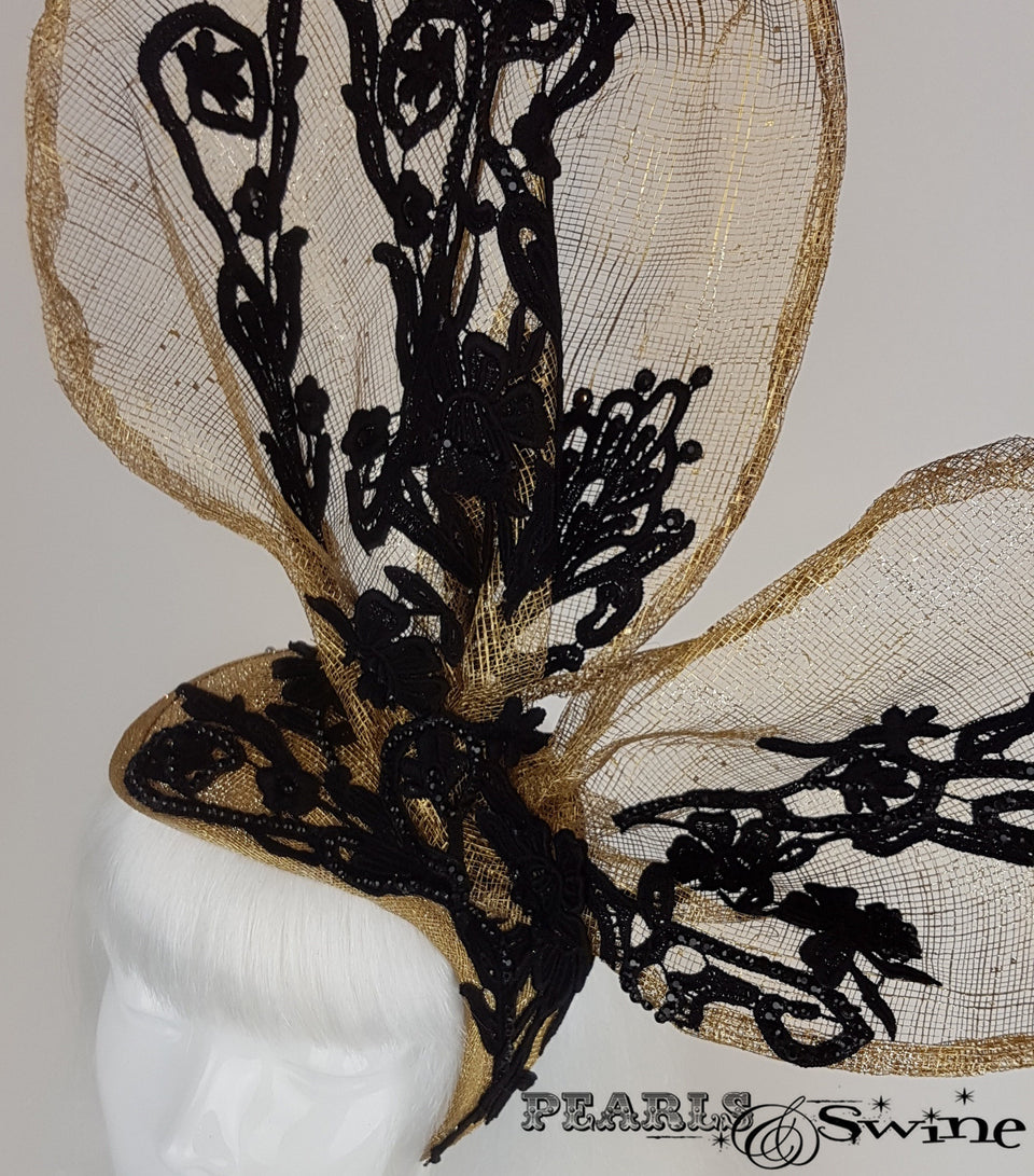 gold with black lace bunny rabbit ear headpiece close up