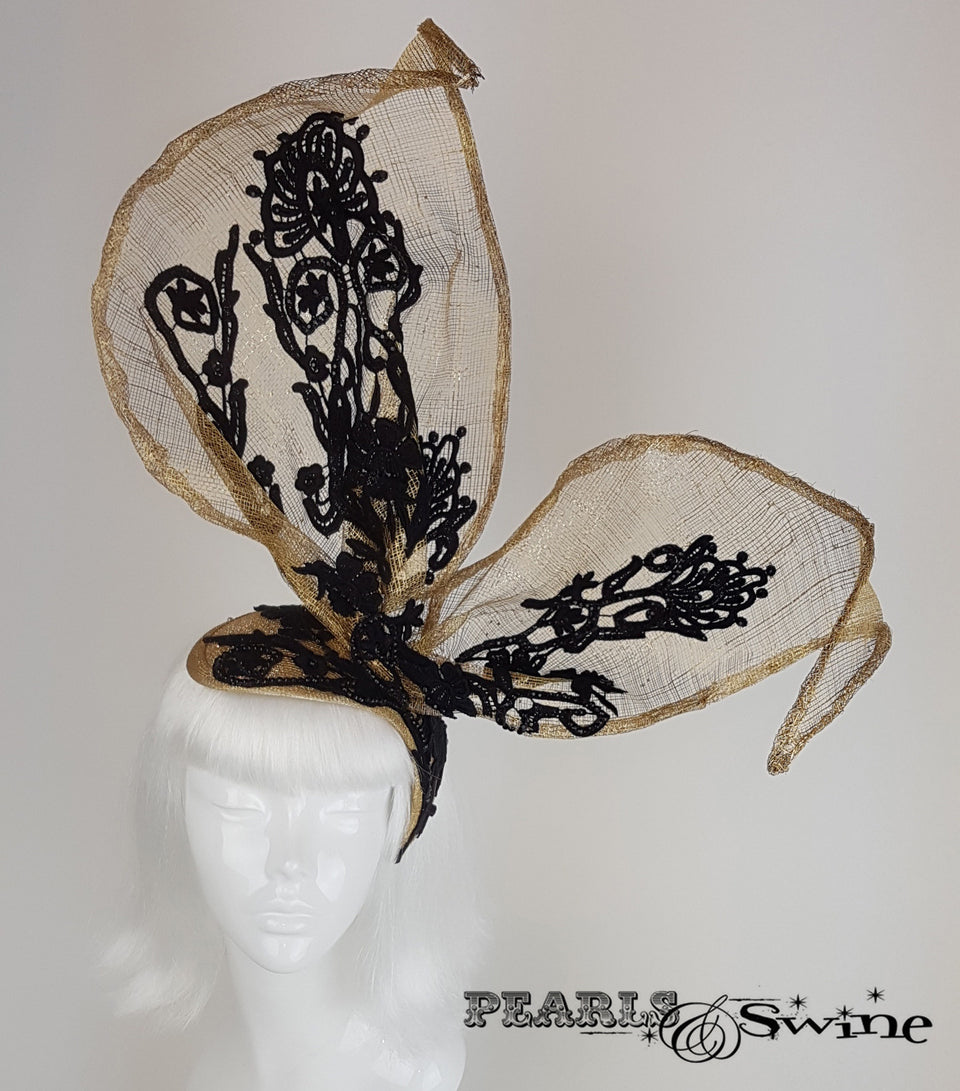 gold with black lace bunny rabbit ear crystals headpiece
