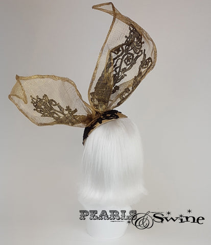 gold with black lace bunny rabbit ear headdress