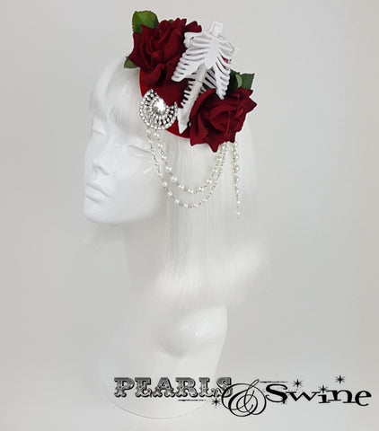 Gothic Rose & Skeleton Fascinator, halloween hats for sale UK