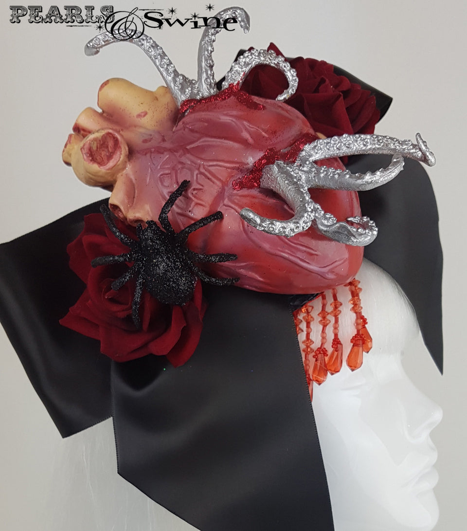 halloween goth hat anatomical heart bow tentacles.