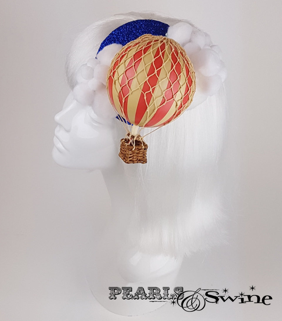 hot air balloon cloud glitter surreal fascinator UK