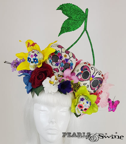 Giant Cherry Sugar Skull Hat, ladies hats for sale UK