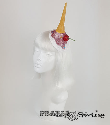Dropped pink Ice Cream surreal Fascinator