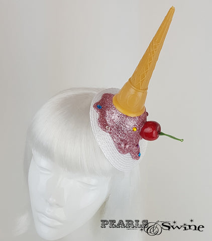 Dropped Ice Cream glitter Fascinator UK