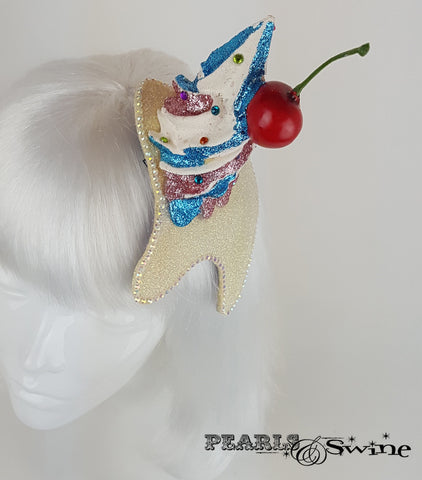 Cupcake Cherry Tooth Fascinator, quirky glitter hats for ladies UK