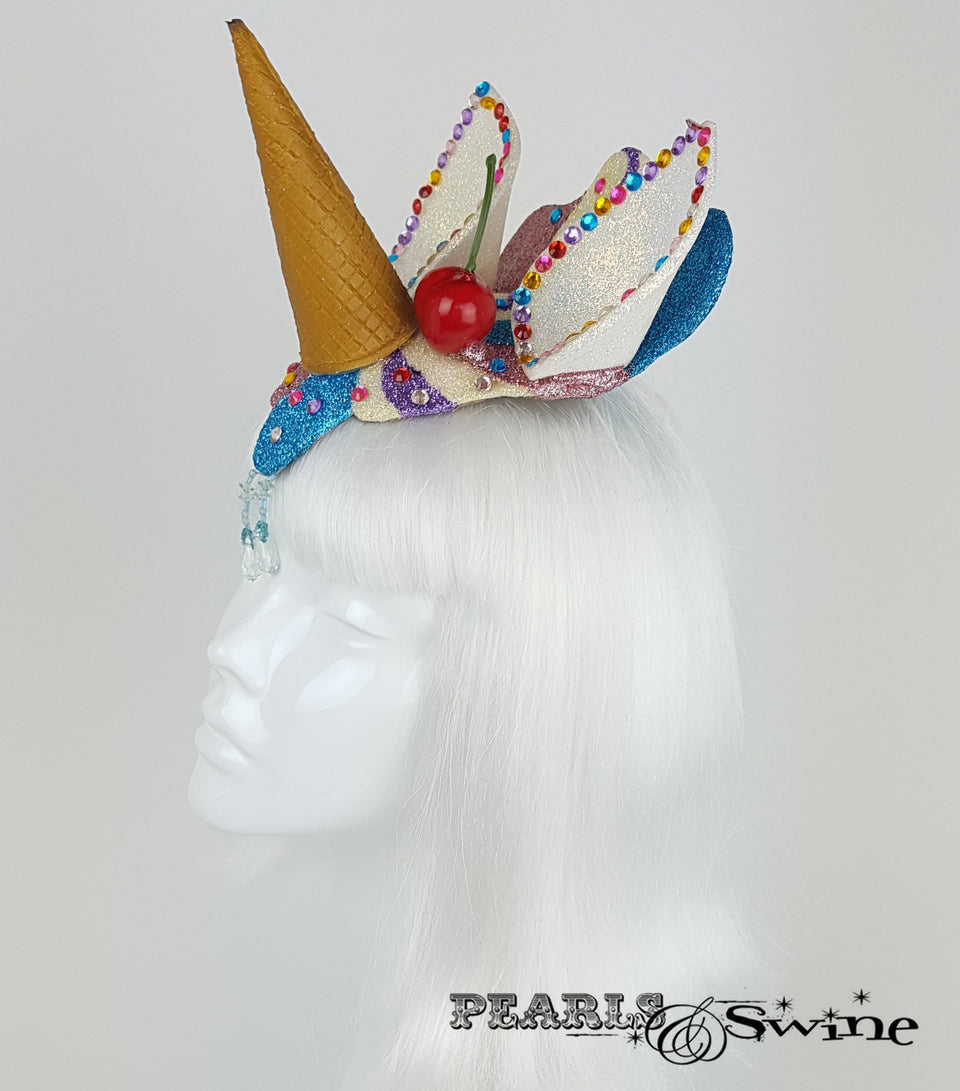 dropped ice cream cone unicorn horn headpiece
