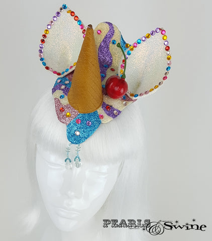 dropped ice cream unicorn glitter headpiece