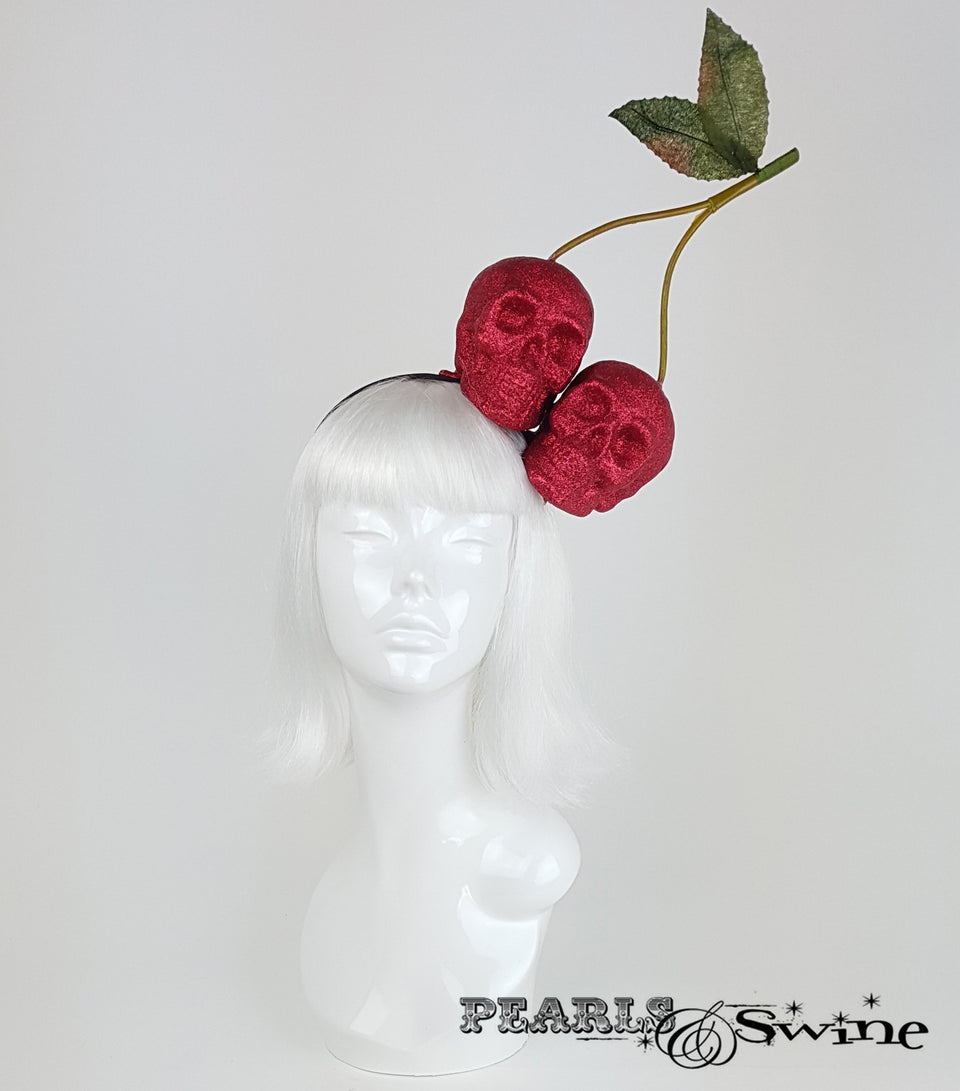 giant red glitter cherry skull headpiece, Hats for sale uk