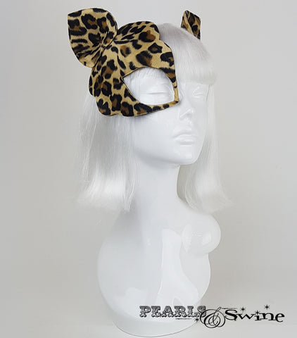 surreal leopard print velvet fur half mask fascinator