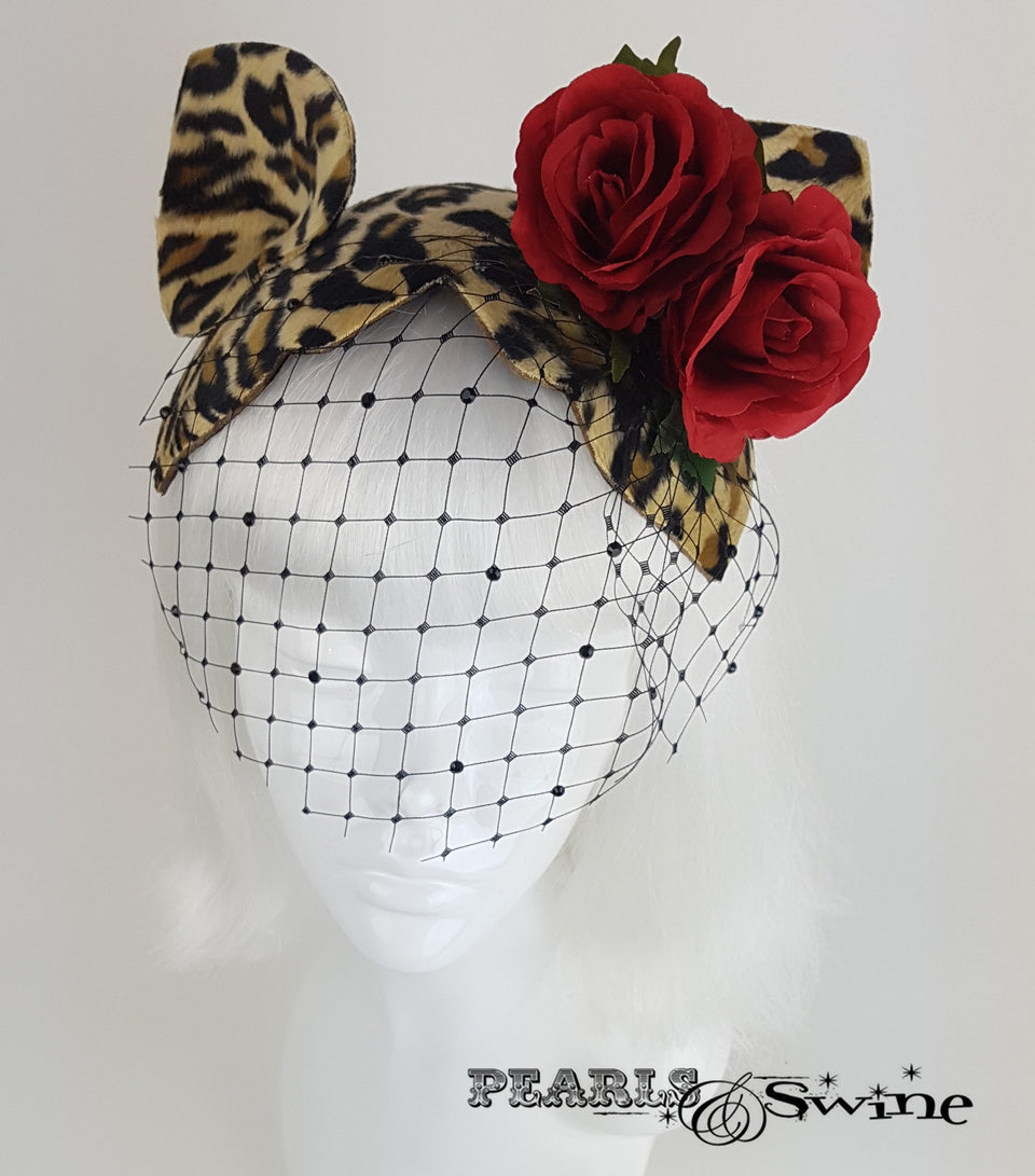 Cat Ear Leopard Print Vintage style Fascinator, UK