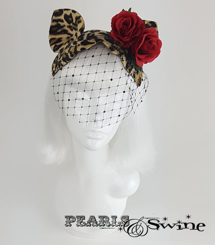 quirky Cat Ear Leopard Print Vintage inspired Fascinator