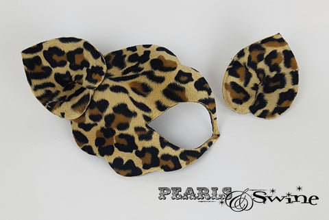 Leopard print velvety fur fetish half mask fascinator