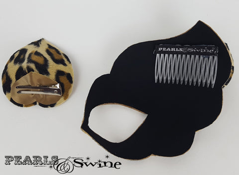 "Leopard Print Velvet Mask Fascinator ""Love Cats"""