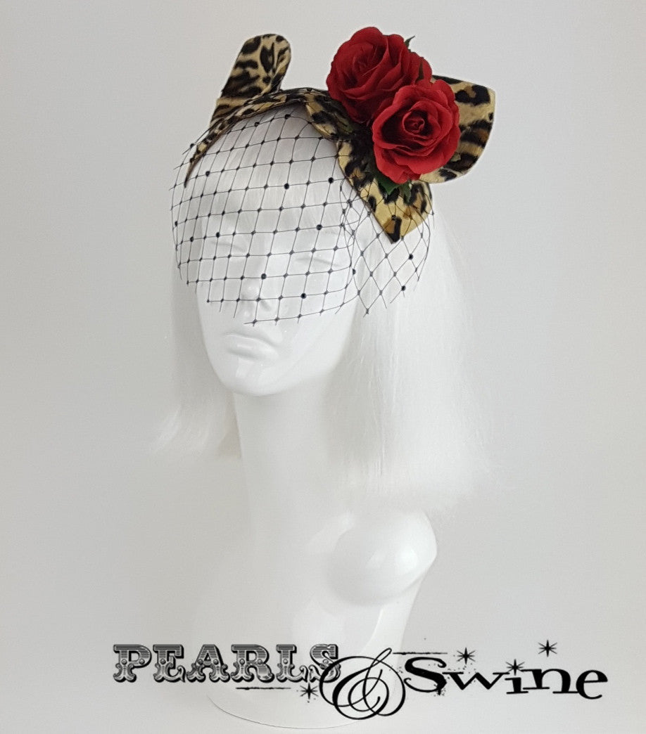 Cat Ear Leopard Print Vintage Fascinator, rock & roll bridal headpiece