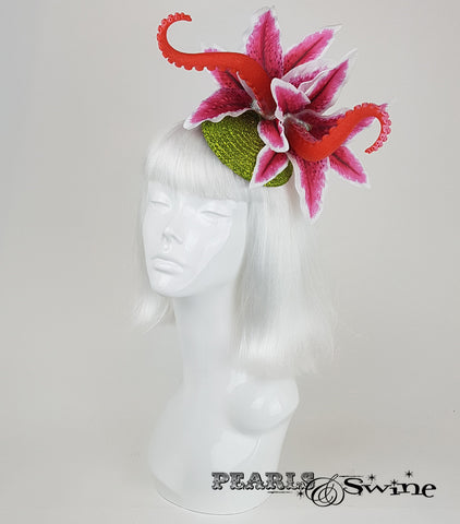 tentacle pink lily flower fascinator for sale Uk