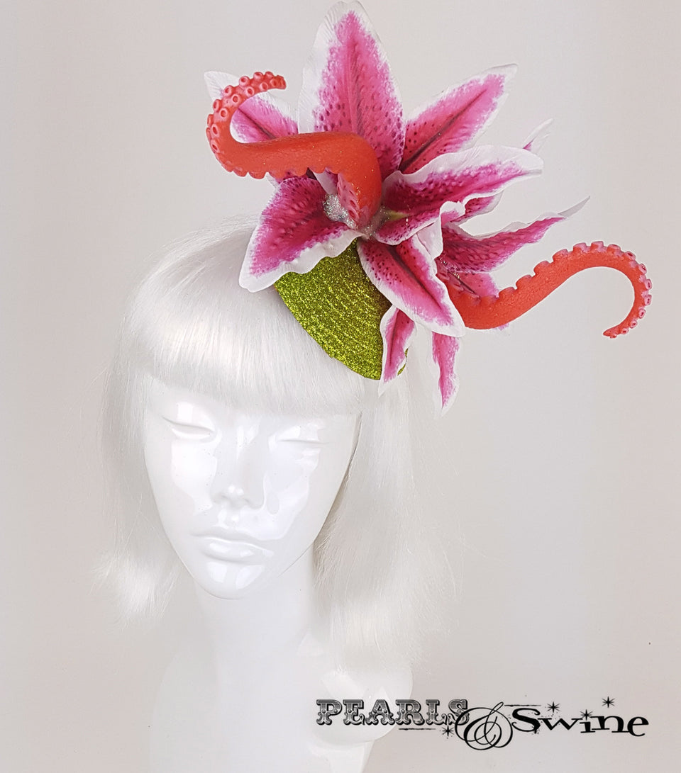 tentacle pink lily flower headpiece for sale Uk