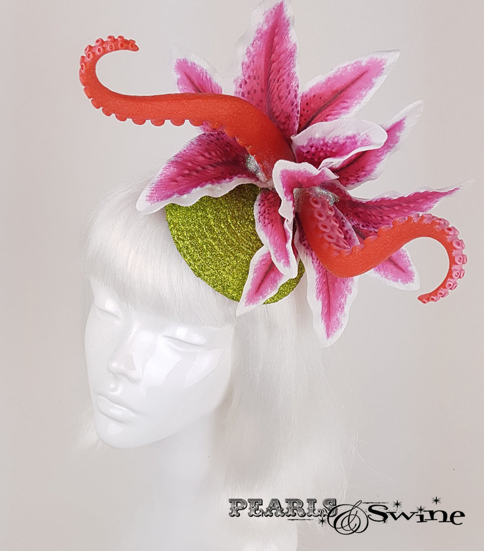 tentacle pink lily flower glitter fascinator for sale