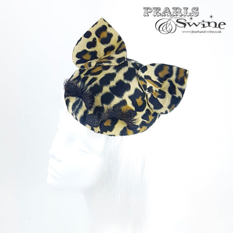 Leopard print hat, cat ears
