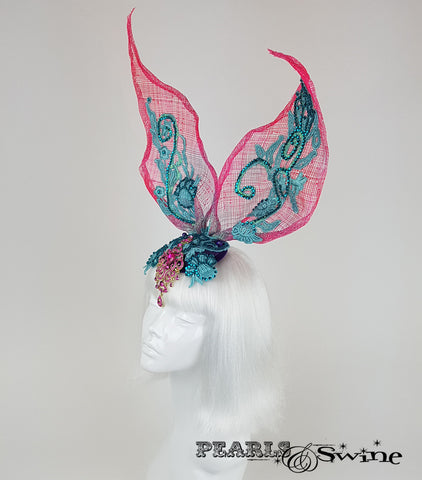 crystal Lace Bunny Rabbit Ear Headdress