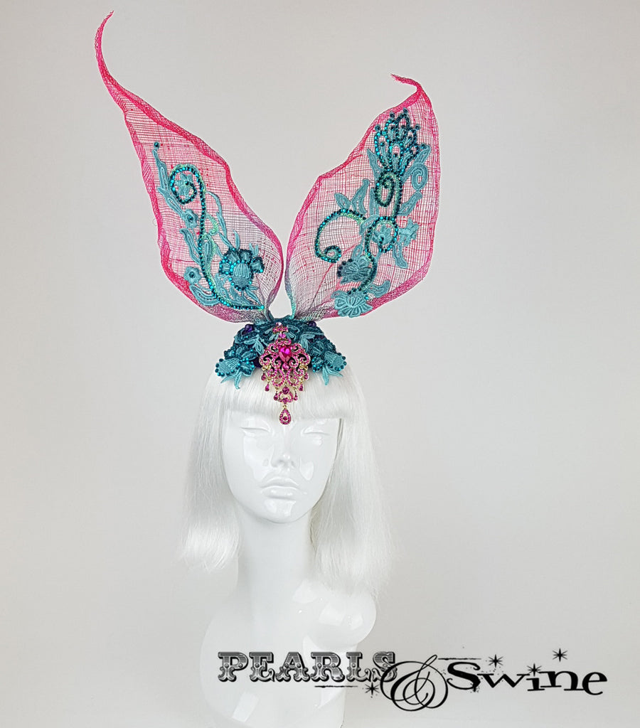 Lace Bunny Rabbit Ear Headdress, Ascot Ladies Day hats