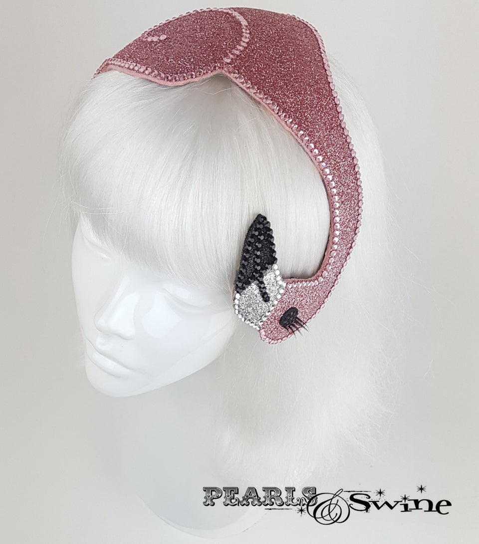 Pink Glitter Vintage Flamingo Hat, rock & roll bridal headpiece