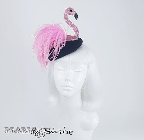 Pink jewel encrusted flamingo hat